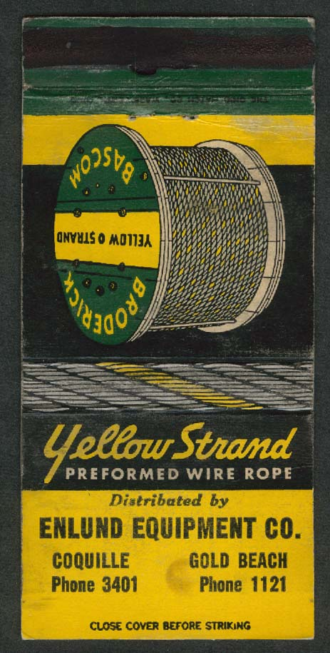Yellow Strand Preformed Wire Rope Broderick Bascom Unlund Equipment matchcover