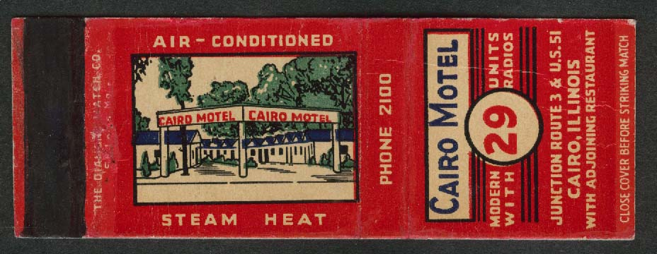 Cairo Motel Air-Conditioned Steam Heat IL matchcover