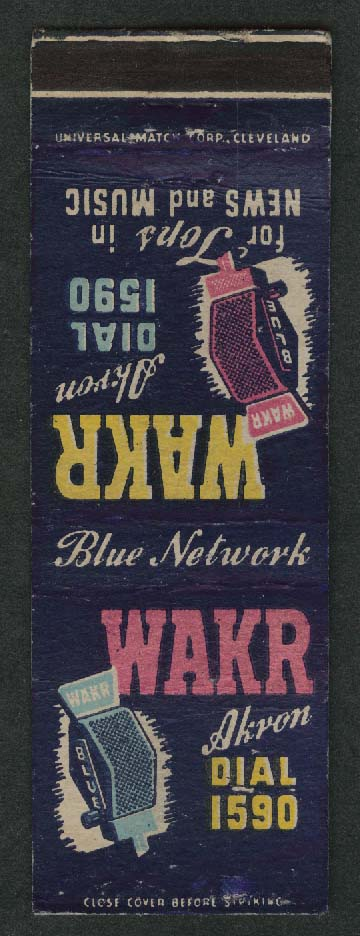 WAKR Akron Dial 1590 Tops in News & Music matchcover