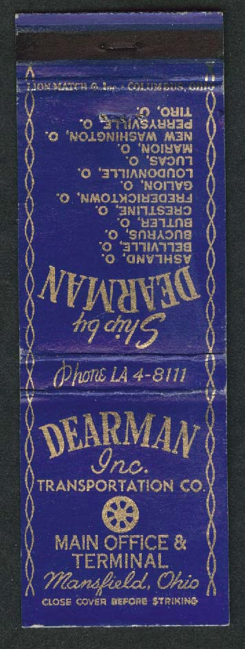 Dearman Inc Transportation Co Main Office & Terminal Mansfield OH matchcover
