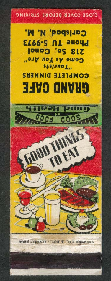 Grand Café 218 S Canal Carlsbad NM Good Things to Eat matchcover