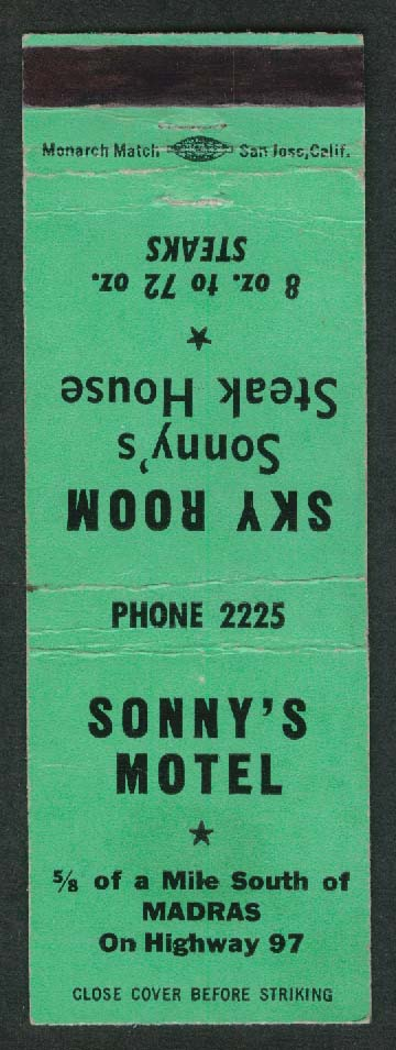 Sonny's Motel Sky Room Steak House Madras matchcover