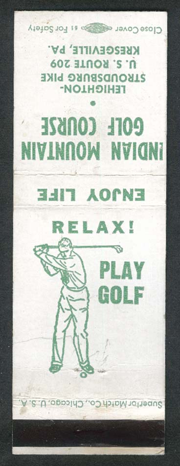 Indian Mountain Golf Course Lehighton-Stroudsburg Pike Kresgeville PA matchcover