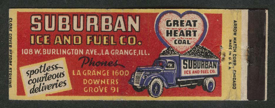 Suburban Ice & Fuel Co 108 W Burlington Ave La Grange IL Great Heart matchcover