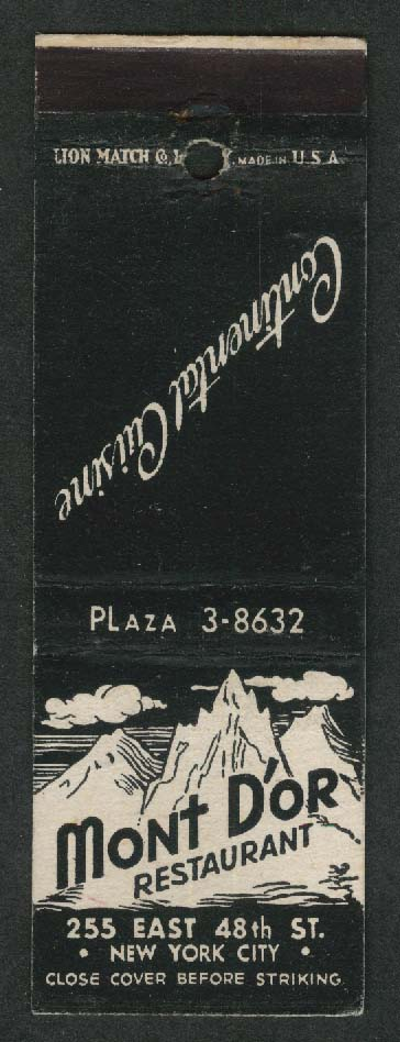 Mont D'or Restaurant 255 E 48th St New York City Continental Cuisine matchcover