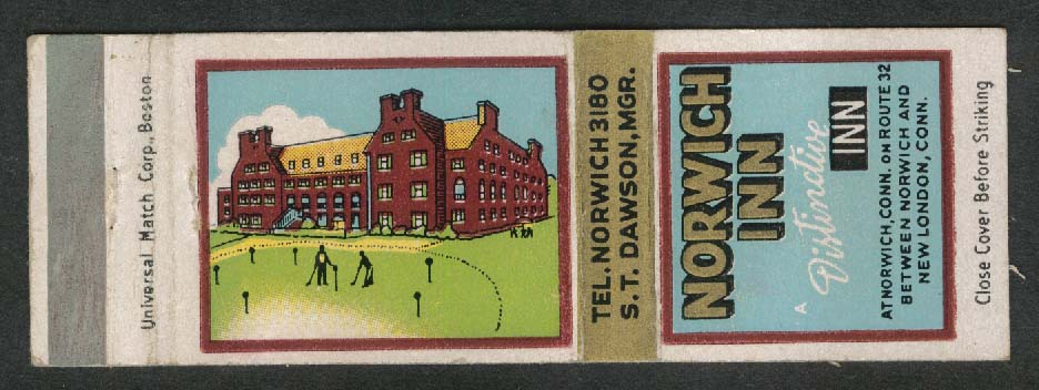 Norwich Inn CT matchcover S T Dawson Manager