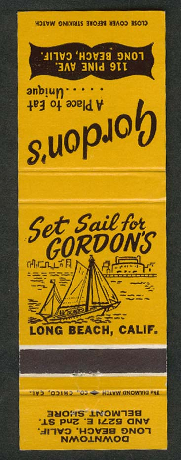 Gordon's Restaurant 116 Pine Ave Long Beach CA matchcover