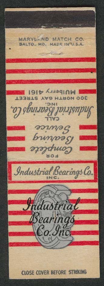 Industrial Bearings Co Inc 300 North Gay Street matchcover