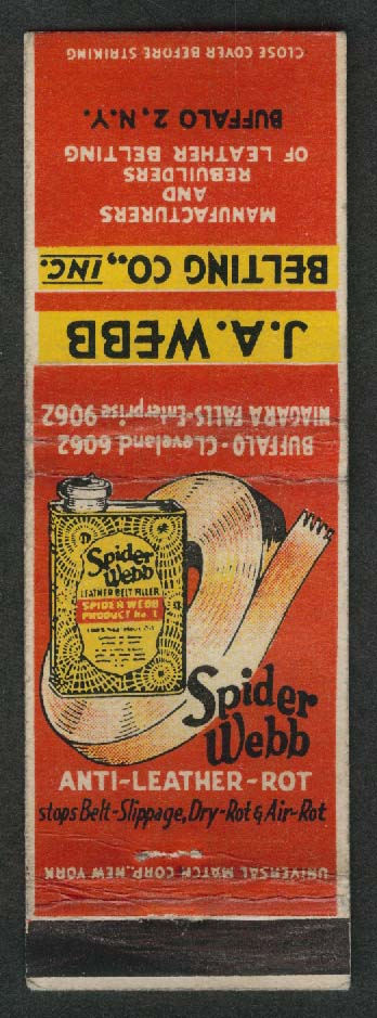 J A Webb Belting Co Inc Buffalo NY Spider Webb Anti-Leather-Rot matchcover