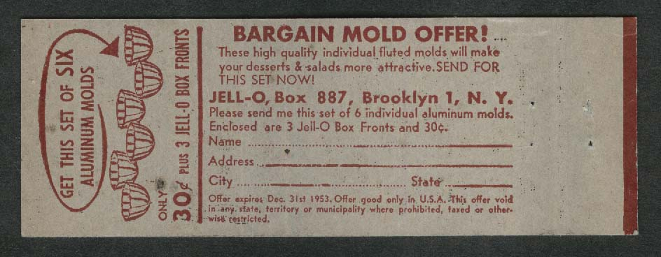 Jell-O Fruit Bowl Recipe Aluminum Molds offer matchcover