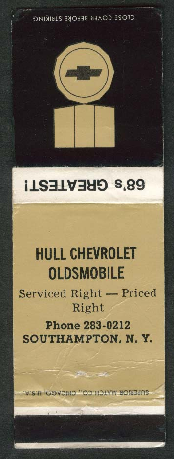 Hull Chevrolet Oldsmobile Southampton NY 1968 matchcover