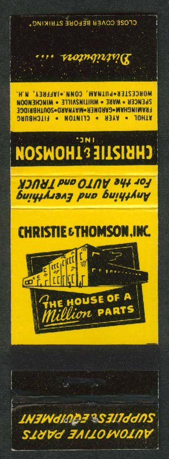Christie & Thomson Inc House of a Million Parts matchcover