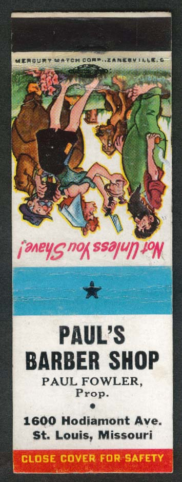Paul's Barber Shop Fowler 1600 Hodiamont Ave St Louis MO matchcover Hillbilly
