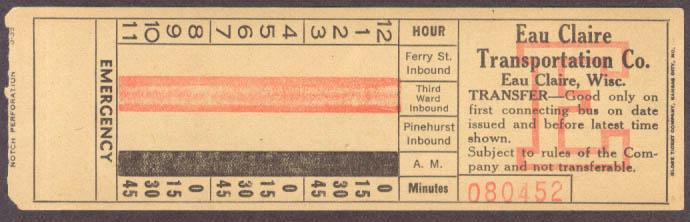 Eau Claire Transportation WI transfer 1939