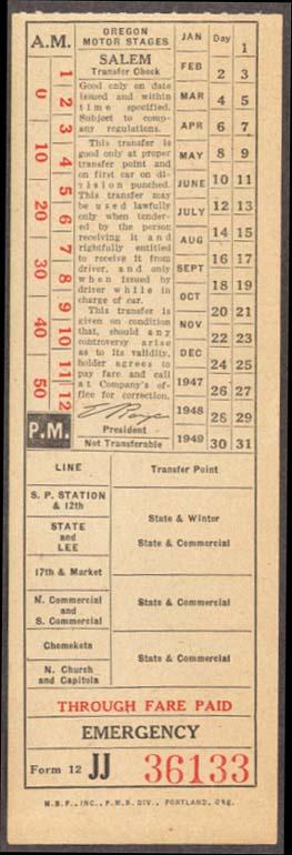 Oregon Motor Stages Salem OR bus transfer undated