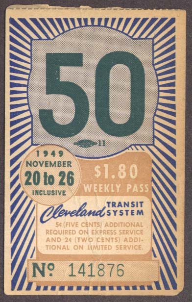 Cleveland Transit System Weekly Pass 1949 OH