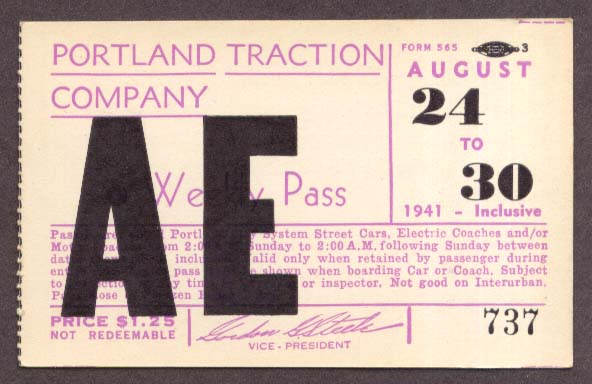 Portland Traction Weekly Pass 1941 OR