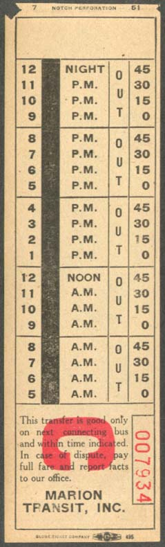 Marion Transit Marion OH bus transfer 1951