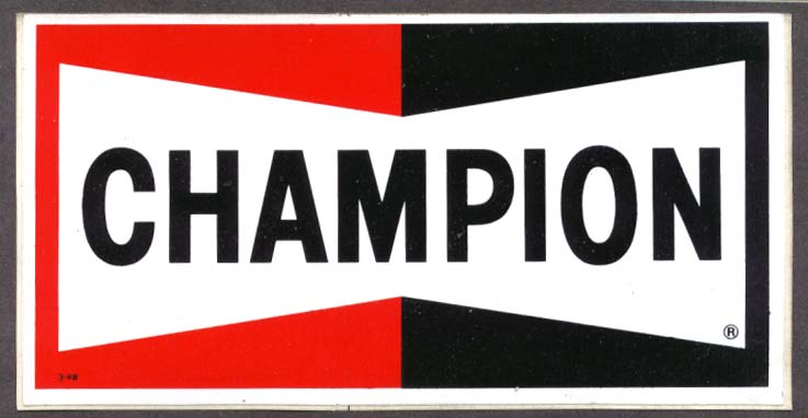 Champion spark plugs bowtie crack n peel sticker