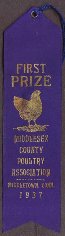 Middlesex Poultry Middletown CT 1st Prize Ribbon 1937