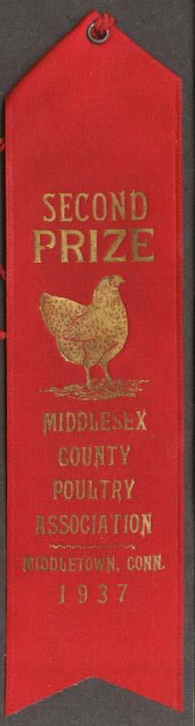Middlesex Poultry Middletown CT 2nd Prize Ribbon 1937