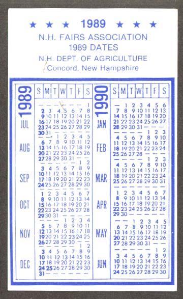 1990 Calendar.New Hampshire Fair Association Pocket Calendar 1989 1990
