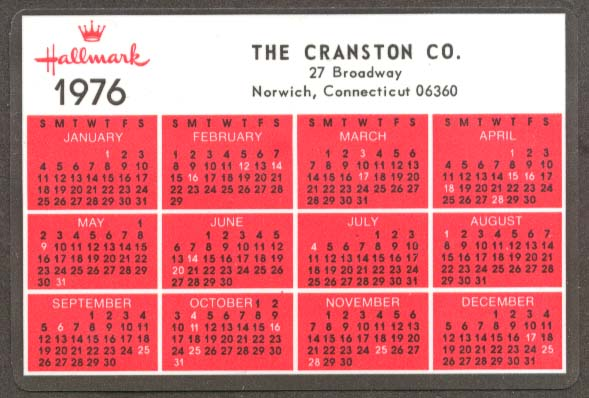 Cranston Co Norwich CT Hallmark pocket calendar 1976