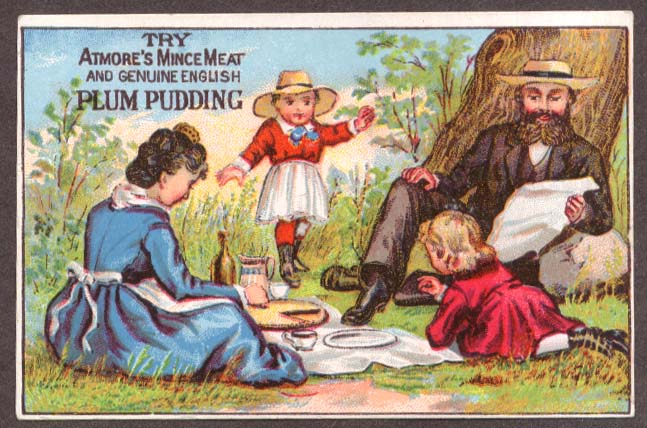 Atmore's Mince Meat Plum Pudding picnic trade card