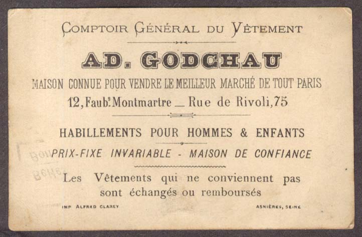 Ad Godchau Clothing Paris Chronique trade card