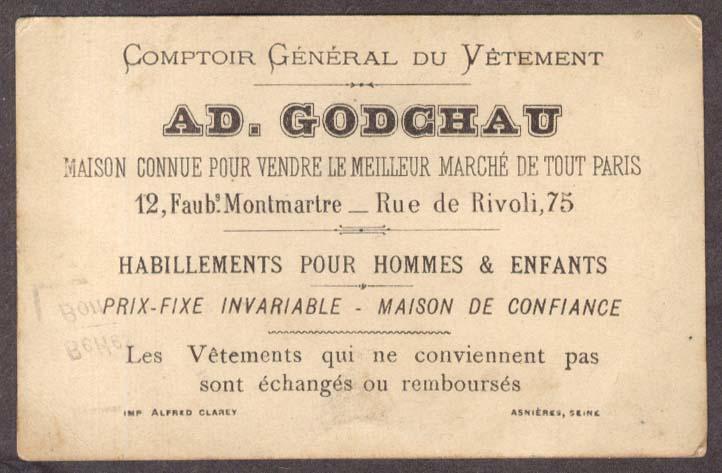 Image for Ad Godchau Clothing Paris Chronique trade card