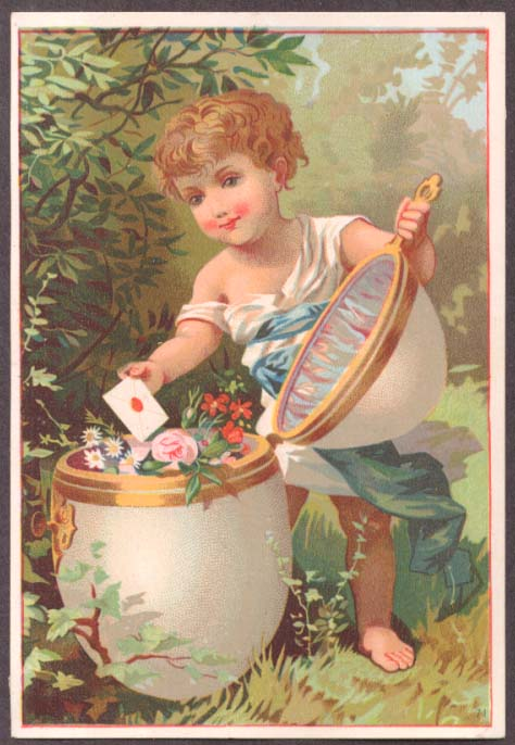 Image for Child takes letter from top-opening egg trade card