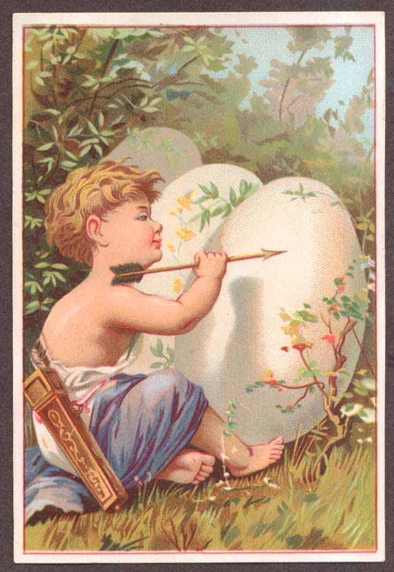 Image for Child archer with arrow & three eggs trade card
