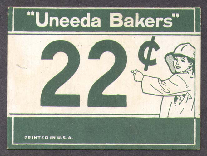 Uneeda Bakers Nabisco 22c 1-color shelf price card