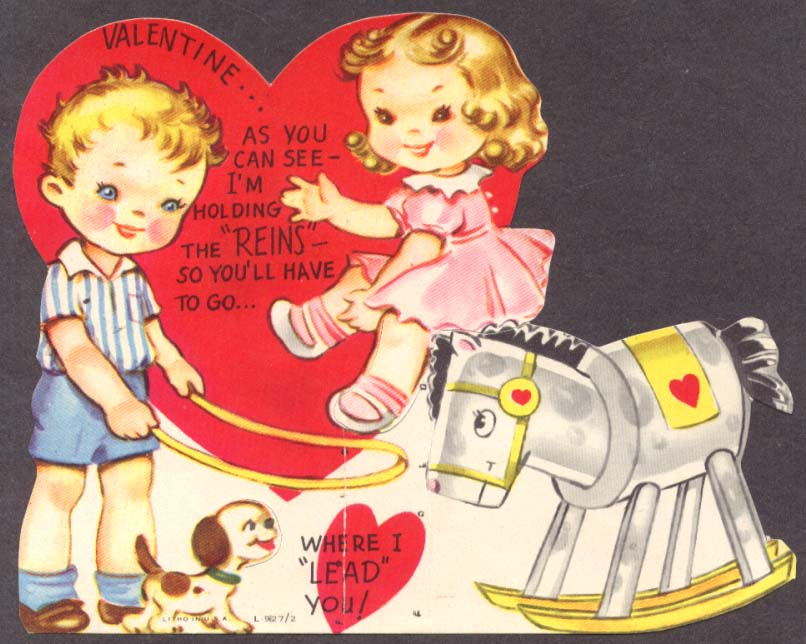 Boy Girl Hobbyhorse animated Valentine card 1950s