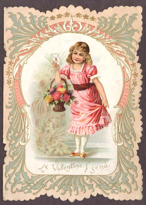 A Valentine I Send girl in pink flower basket card 1905