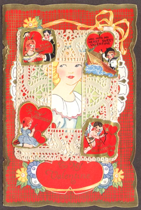 Blonde girl lace Valentine card w/ stickers ca 1920