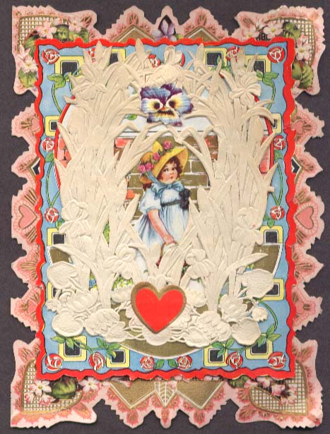 Image for Girl with a basket lace 3-level Valentine card ca 1920