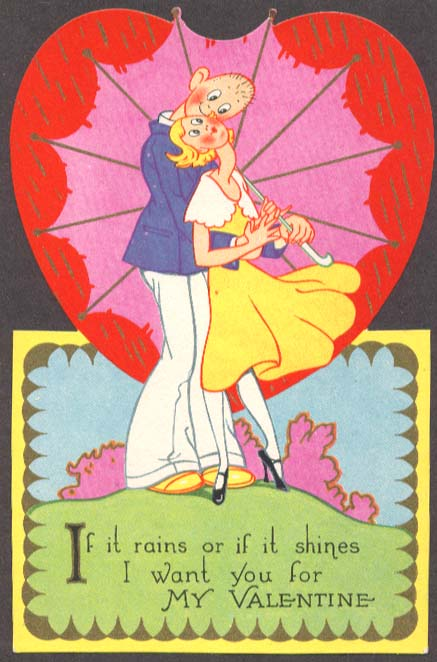 Image for If it Rains or Shines I Want You Valentine card 1930s