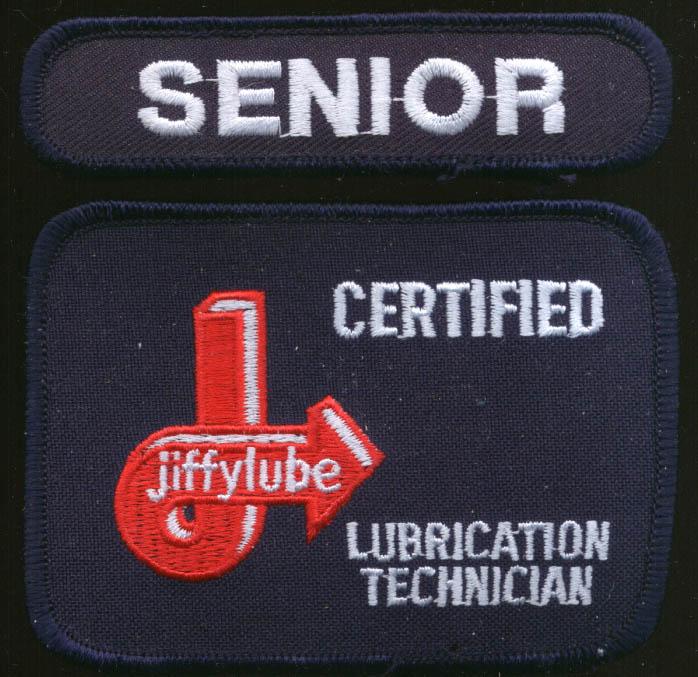Jiffylube Certified Lubrication Technician patch Senior