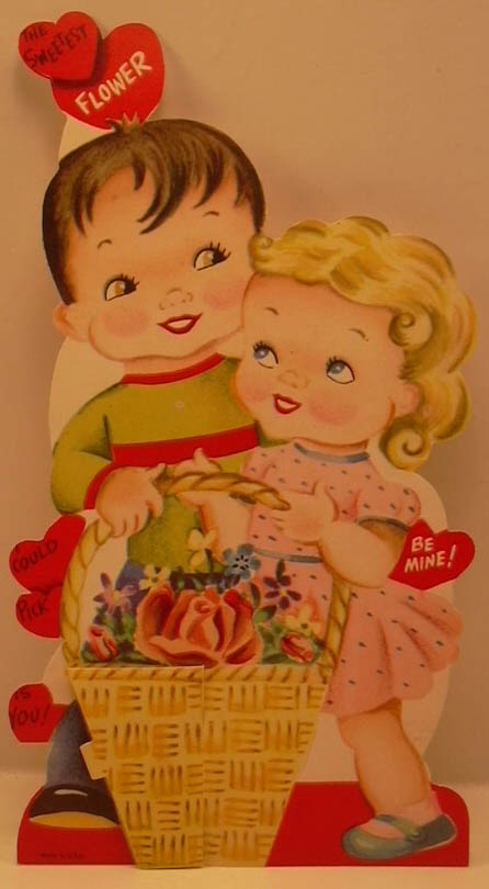 Boy girl flower basket honeycomb stand-up Valentine card