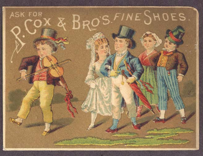 Image for P Cox & Bros Fine Shoes wedding fiddle trade card