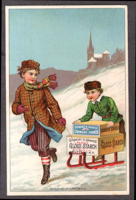 Image for Graves Gloss & Laundry Starch kids with sled trade card