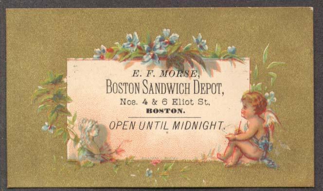 Image for E F Morse Boston Sandwich Depot trade card cherub