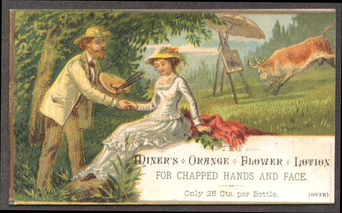 Miner's Orange Flower Lotion bull cahrges painting card