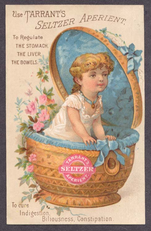 Image for Tarrant's Seltzer Aperient girl in basket trade card