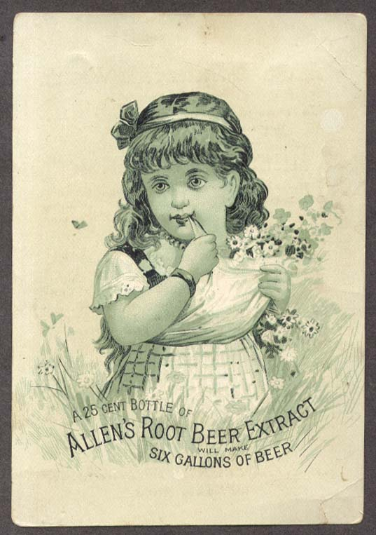 Allen's Root Beer Extract trade card Lowell MA