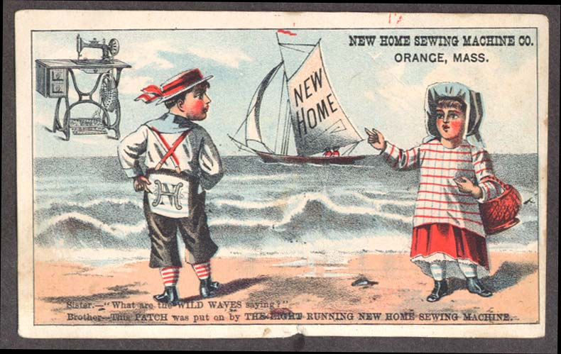 Image for New Home Sewing Machine trade card seaside sailboat