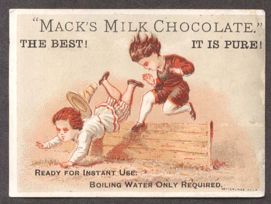 Image for Mack's Milk Chocolate trade card kids obstacle course