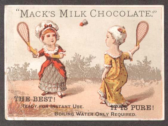 Image for Mack's Milk Chocolate trade card badminton girls