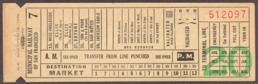 Municipal Railway of San Francisco Market transfer 1947